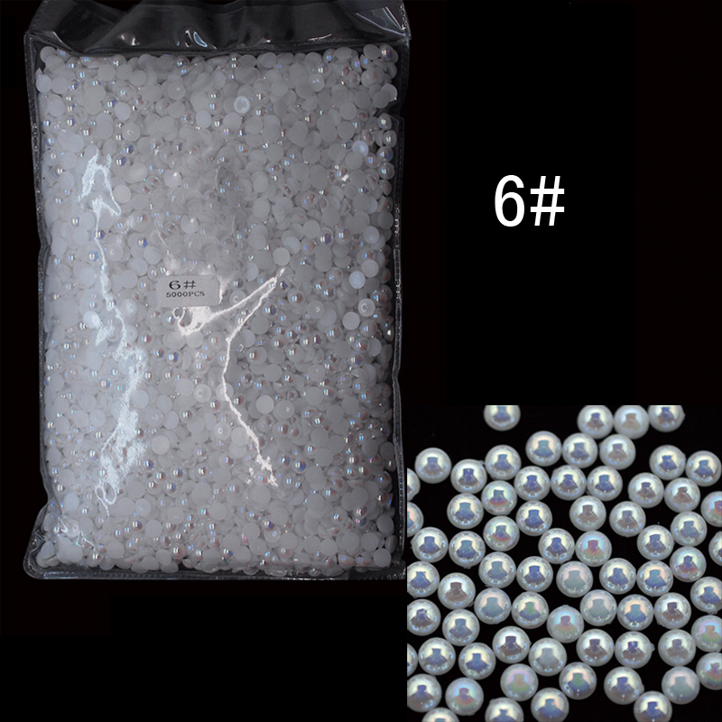 ABPearl6mm 5000pcs/lot 6mm Half Round Shape Pearl Beads AB Color Perfect for Nail Art Jewelry  Shoes Princess Dress half round pearls 500pcs pack flatback white half round pearl beads for jewelry making and nail art high quality pearl beads