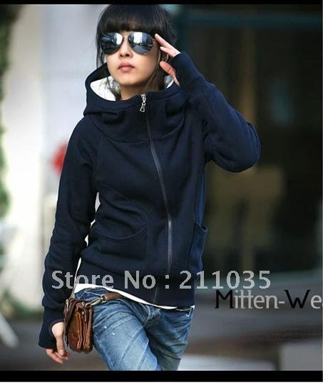 Woman fashion spring plus size solid  hooded hoodies lady winter plus velvet thermal sweatshirt female hooded outerwear  QC