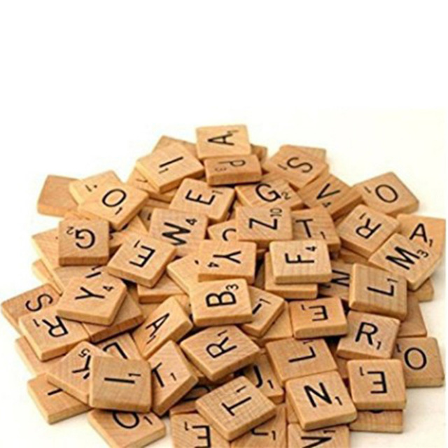 100Pcs Wooden Alphabet Scrabble Tiles Black Letters & Numbers For Crafts Wood Digital Puzzle 2