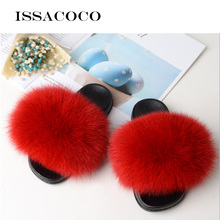 ISSACOCO Womens Furry Slippers Ladies Cute Plush Fox Hair Fluffy Fur Winter Warm for Women