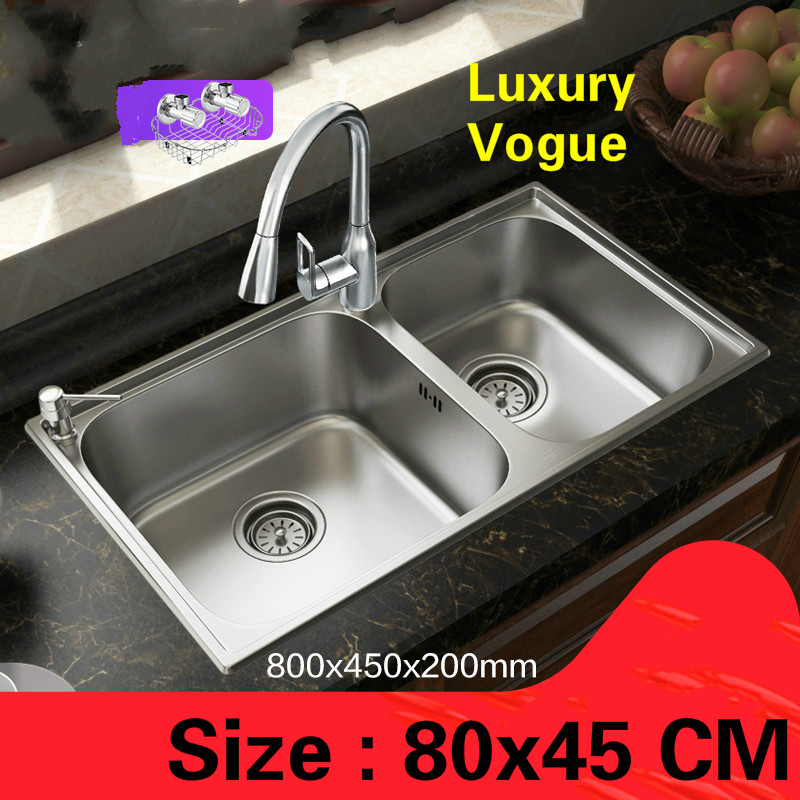 Free shipping Standard luxurious fashion kitchen double groove sink food grade stainless steel whole drawing hot sell 80×45 CM