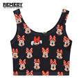 2016 Summer Women black fashion harajuku kawaii cartoon Cute Minnie print mouse short slim stretchy crop top for girls