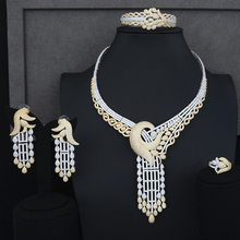 Siscathy 4PCS Luxury Statement Women Wedding Jewelry Sets Charms CZ Collar Necklace Dangle Earrings Bangle Ring