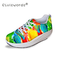ELVISWORDS Flat Platform Shoes Women Graffiti Print Teenager Casual Female Slimming Swing Shoes for Ladies Shaps Ups Zapatos