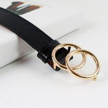 Fashion Faux Leather Women Belt Tighten Soft Double Ring Buckle Female Waist Belts Size 111 cm