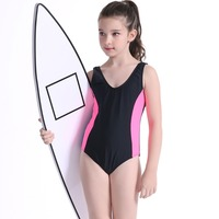 One Piece Children Swimsuit Girls Swimming Suits Summer Swimwear Solid Bodysuits Kids Sports Lovely Quick Dry Bathing Suit