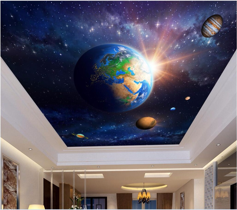 Custom photo 3d ceiling murals wallpaper Planet earth in space decoration painting 3d wall murals wallpaper for walls 3 d custom 3d ceiling photo wave dolphin 3d ceiling murals wallpaper home decor wallpaper on the ceiling papel de parede