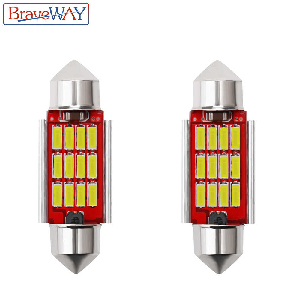 BraveWay 2PCS 31mm 36mm 39mm 41mm LED Bulb C5W C10W Super Bright 4014 SMD Canbus Error Free Auto Interior Doom Lamp Car Styling