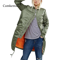 CamKemsey Winter Coat Women Spring Autumn Long Sleeve Casual Military Army Green Thin Bomber Jacket Female Outwear