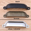 "3.5 ""prata bronze shell copo gabinete gaveta pull knob 96mm preto antigo dresser handle estilo retro desdobrar instalar alça cromada"