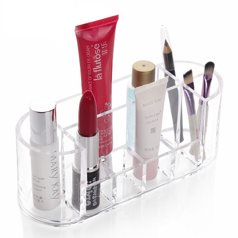 8 Grids Clear Acrylic Lipstick Holder Box Brush Tools Stand Bin