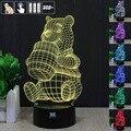 H Y Winnie the Pooh 3D Humor Lâmpada Night Light RGB Mutável levou luz dc 5 v usb candeeiro de mesa decorativo obter um free remoto controle