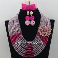 Pink Fuschia African Beads Set Latest Lace Jewelry Set Handmade Item Wholesale Free Shipping ABE163(China)