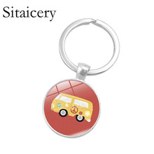 Sitaicery New Vintage Hippie Peace Sign Van Bus Keychain Fashion Men Women Purse Bag Car Pendant Key Chain Ring Holder Jewelry