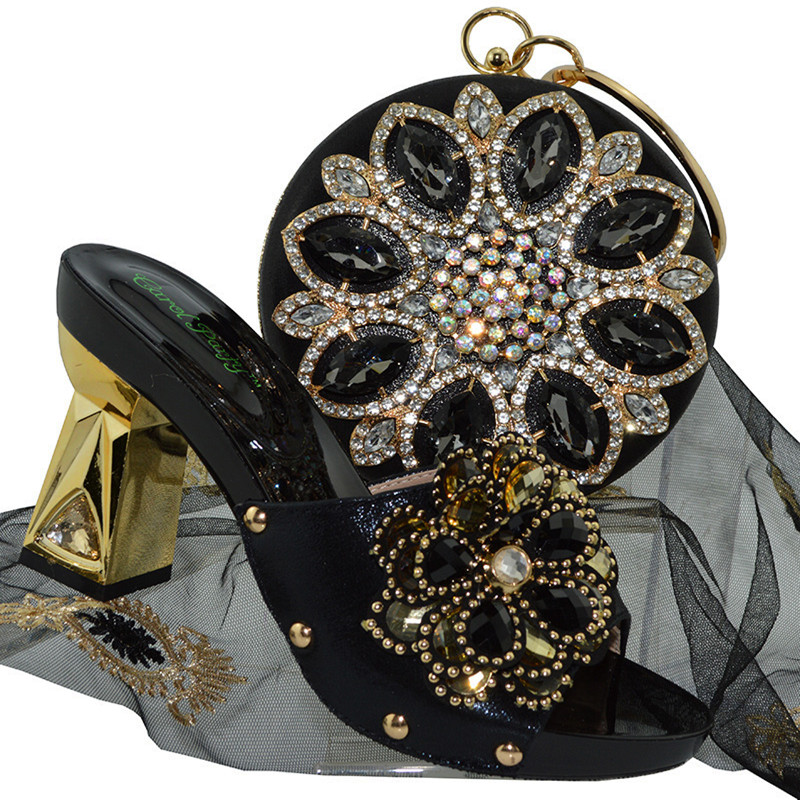 qsl001 Nigerian Decoration With Stone Woman Shoes And Bag Set Fashion African Slipper Pumps Shoes And Bags Set For Party africa style pumps shoes and matching bags set fashion summer style ladies high heels slipper and bag set for party ths17 1402