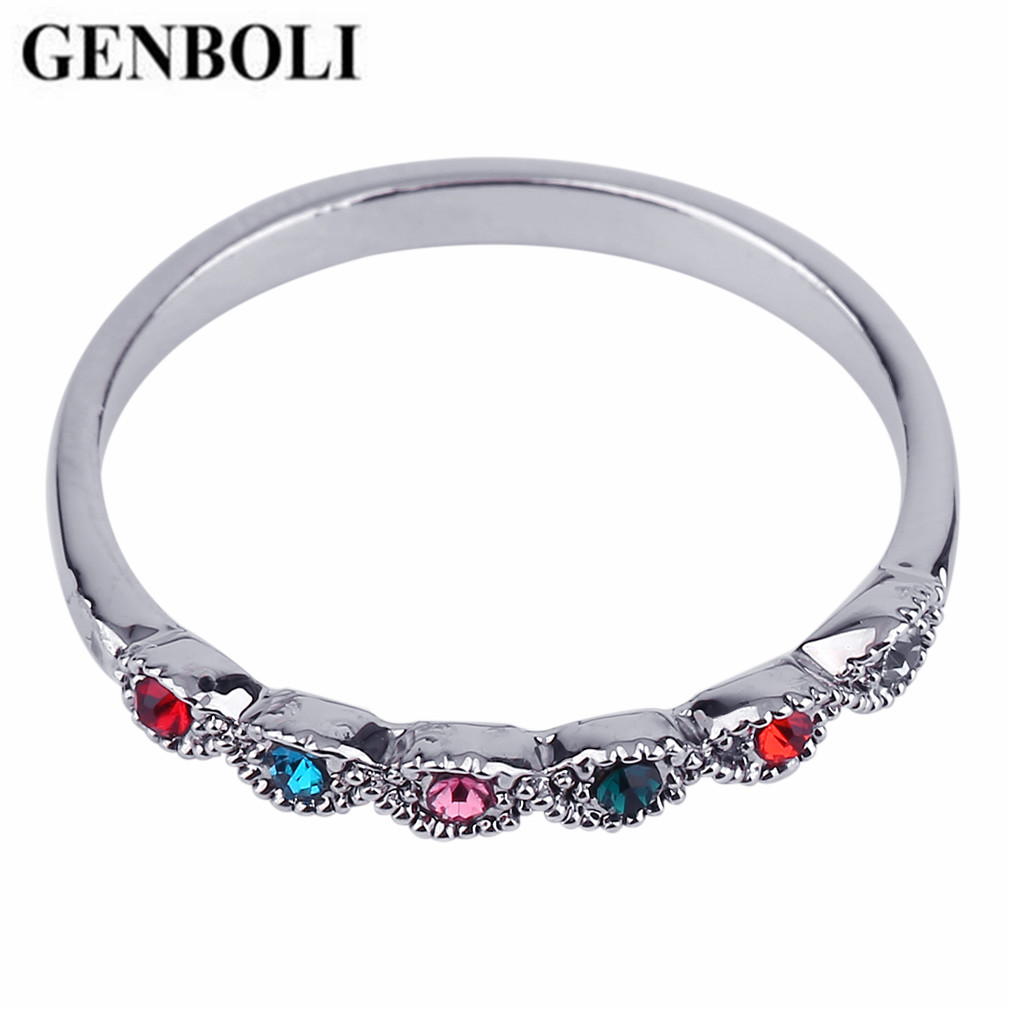 GENBOLI 1pcs Ring for Women Colorful Finger Ring Zinc Alloy Party Ring Simple Design Lady Ring Jewelry