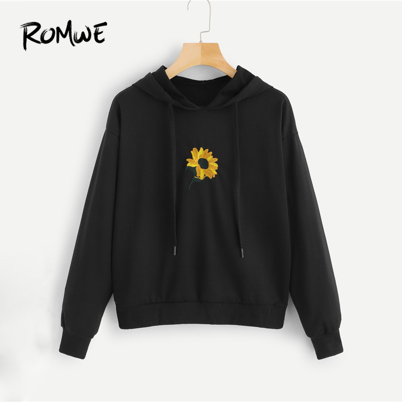 ROMWE Floral Embroidery Hooded Sweatshirt 2019 Black Fashion Women Spring Autumn Sweatshirt Streetwear Long Sleeve Tops