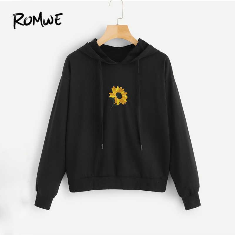 024d7efc6e4c4e ROMWE Floral Embroidery Hooded Sweatshirt 2019 Black Fashion Women Spring  Autumn Sweatshirt Streetwear Long Sleeve Tops