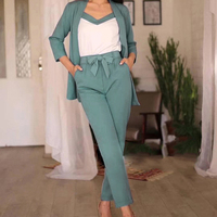 Women Sets Three Pieces Solid Casual Suits Long Sleeve V Neck Bottoming T shirt Female OL Long European Style Pants SJ2595U