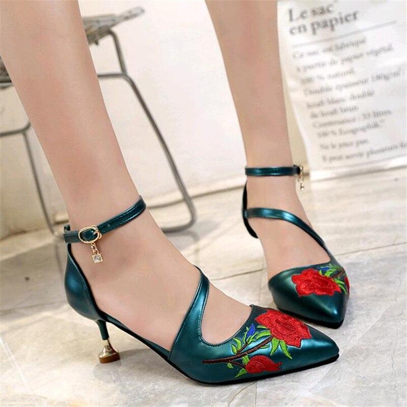Rosa Negro bien Sandalias Verde Bordado verde Alto Negro Flor Las Bombas Mujeres Moda De Nueva Tacón Zapatos Slip 2019 vqdwaPP