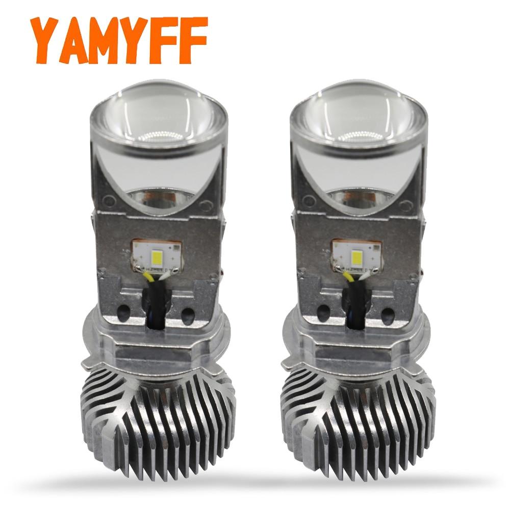 YAMYFF H4 объектив Мини-проектора автомобиля светодиодная лампа Hi/lo луч фары H4 фара мотоцикла светодиодный 12 V фонарь для мотоцикла 6000 K