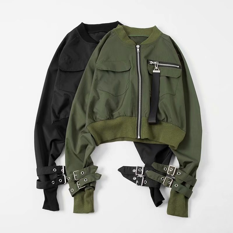 Army Green Bomber   Basic     Jacket   Zipper Fly Baseball   Jacket   Outerwear Autumn Winter Casual Pocket Coat Women 2018 Streetwear Coat