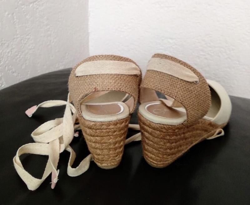 Women Ankle Strap Espadrilles Wedge Sandals 2018 Summer Canvas High Heel Fashion Lace up Women Platform Wedge Sandals Large Size (33)