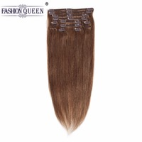 Peruvian Human Hair extensions Full Head Clip in Human Hair Extensions DARK BROWN (Col 4), Silky Straight clip hair