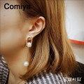 Chapado en oro de aleación de zinc de largo perlas de imitación pendante charm mujeres cuelga el pendiente boucle brinco doreille maxi boucles d'oreilles