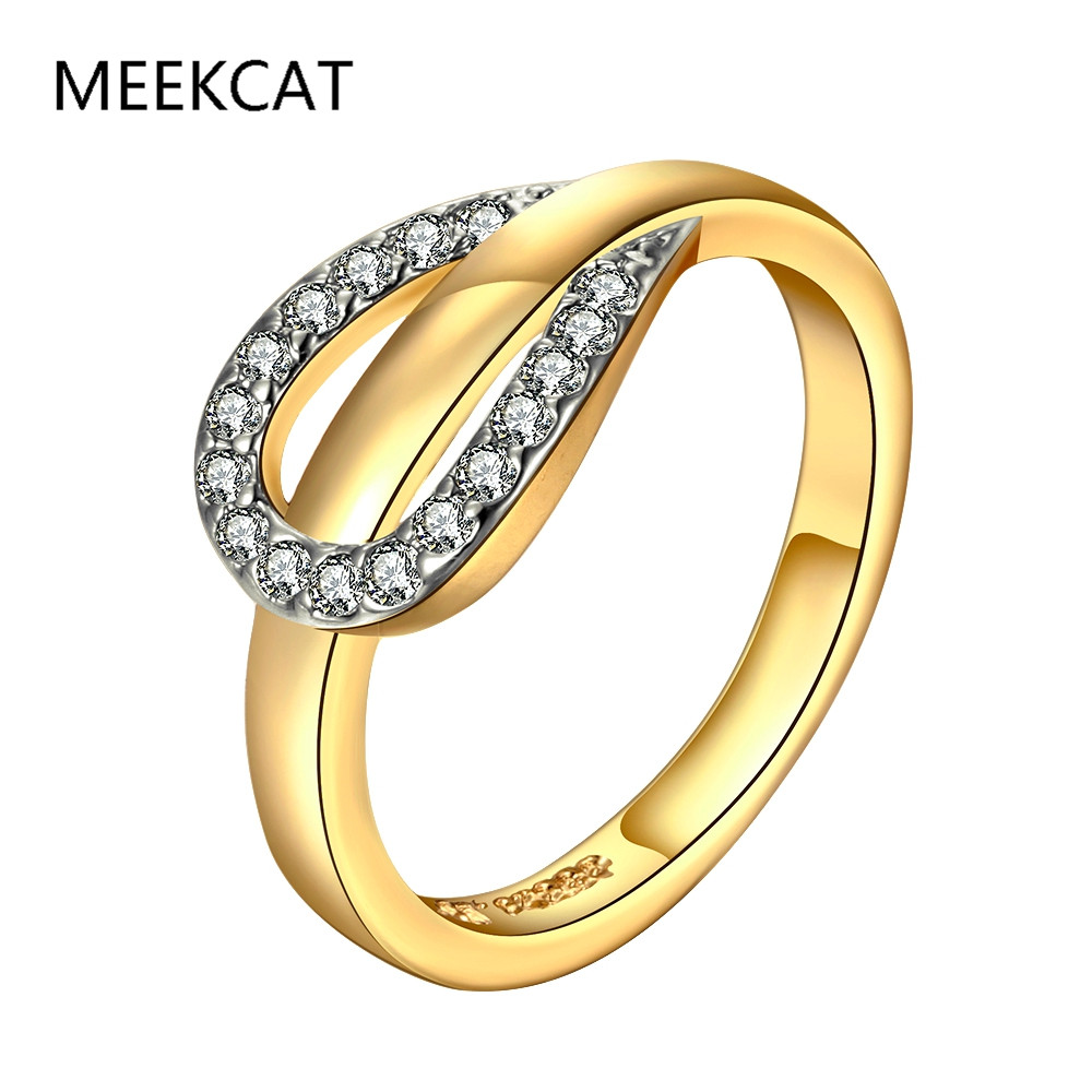 drop shipping gold color de ouro rhinestone rings horseshoe ring anel anillos for women brand designer - Horseshoe Wedding Rings