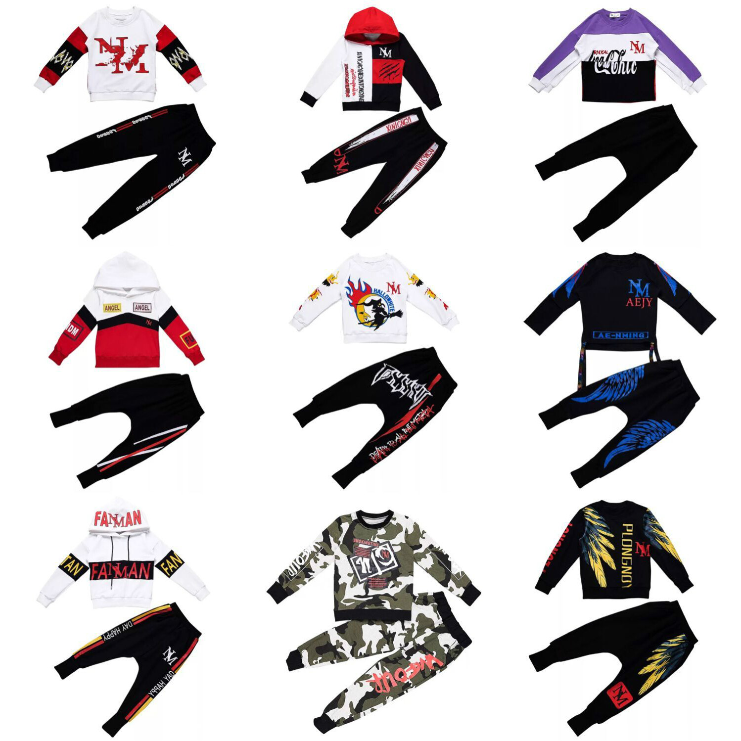 Kids Sport Suits Boys Hip Hop Dance Sets New Fashion Children Clothing Set 3-15Yrs Boys Teens Hoodie Shirt Tops Pants CA4221 4 pieces new fashion print cool boys girls clothing set cotton t shirt hip hop dance pants sport clothes suits kids outfits
