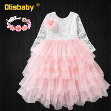 Summer Style Children Lace Flower Dress for Girls Long Sleeve Floral Layered Backless Tutu Kids Mesh Holiday Dress with Headwear недорого