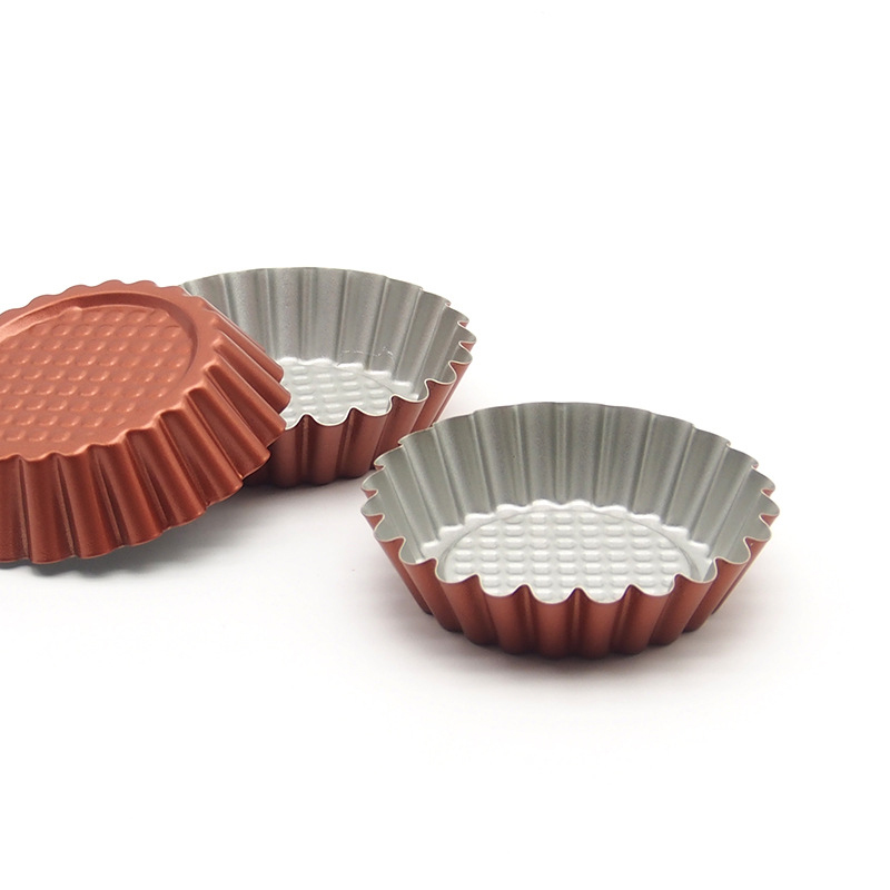 8-pack non-stick kolstål mini tårtpannor, quiche pan, 4-tums diameter