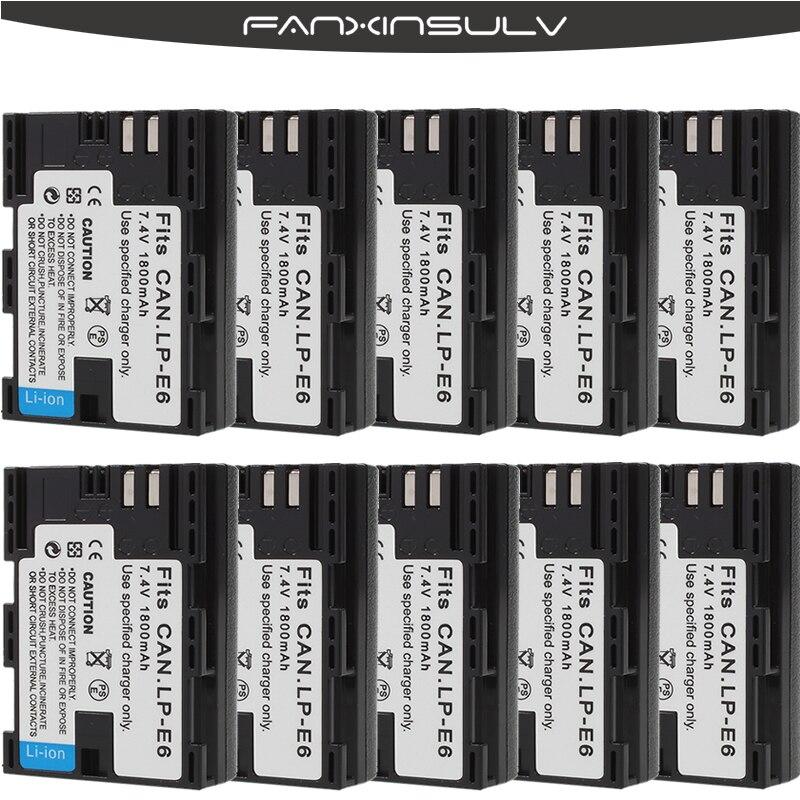 10 pièces LP-E6 LP E6 LP-E6N Batterie Japon Cellule Sanyo + 10 boîtier De Batterie pour Canon EOS 6D 7D 5DS 5DSR 5D Mark II 5D 60D 60Da 70D 80D
