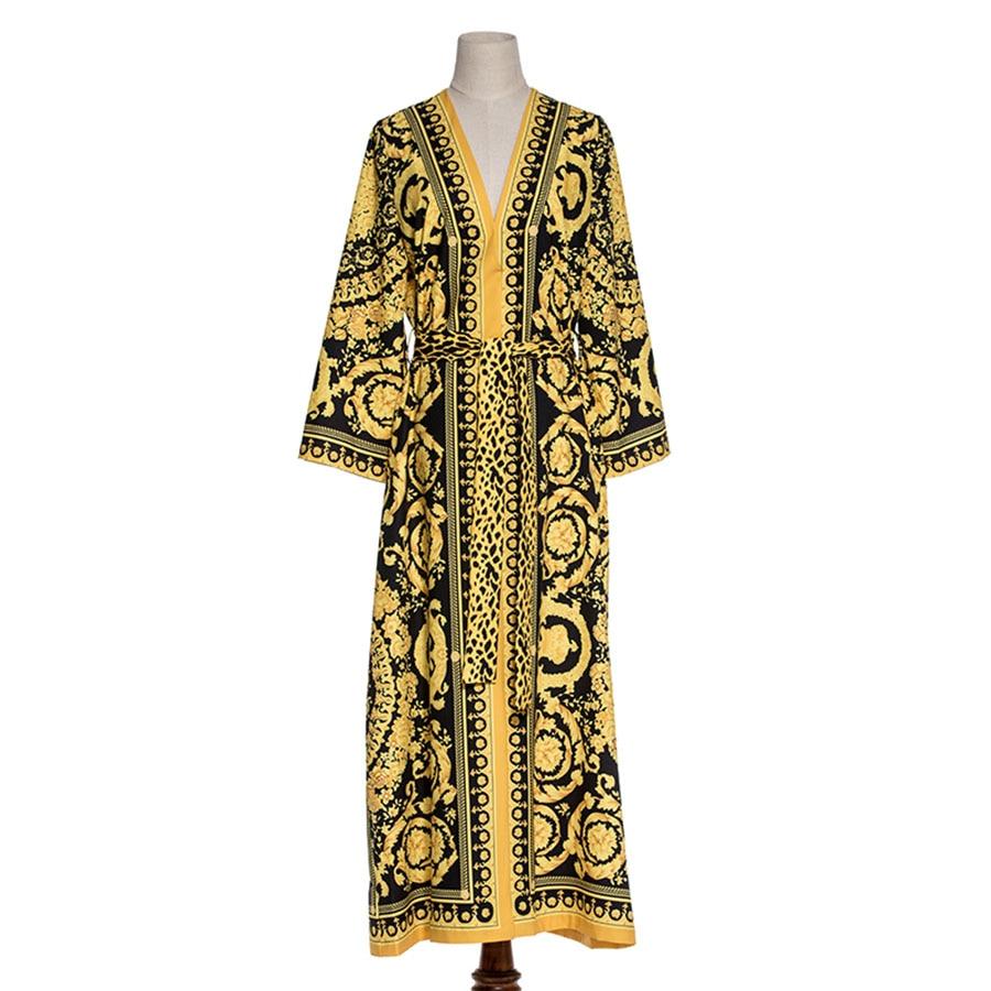 Vintage Runway Dress Leopard Print 2018 Spring Fashion Full Sleeves Belt V Neck Ethnic Muslim Printed Slim Long Loose Dress