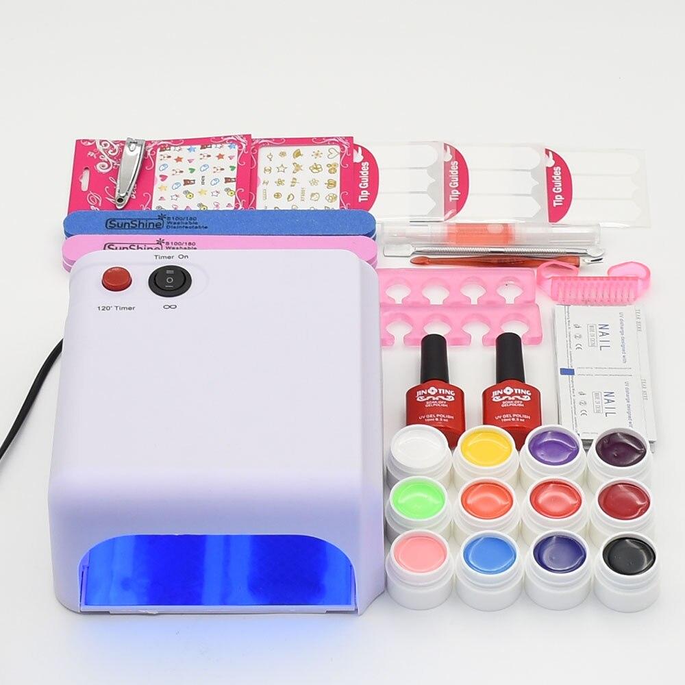 ФОТО nail set 36W UV lamp nail dryer 36W & 12pcs different color pure gel nail polish matter top base coat nail tools manicure sets