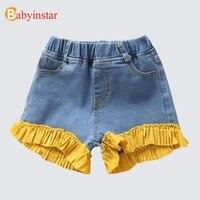 Babyinstar בנות מכנסיים קצרים מכנסיים קצרים ג 'ינס תחרה חמודה 2018 תינוק בסגנון קיץ תלבושות ילדים בנות בגדי ילדים מזדמנים ג' ינס