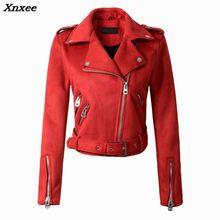 2018  Hot Sale Women Faux Leather Jacket Stud/rivet Moto Biker Zip Coats Chaqueta Blazer PU Jaqueta Couro Rock Cuir Femme Casaco letter pattern zip up faux leather jacket