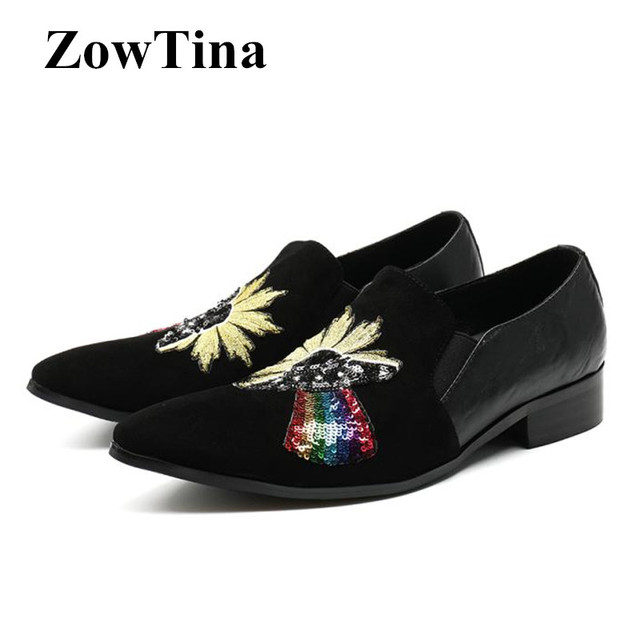 512a155934 Pointed Toe Men Black Suede Flats Sequins Embroidery Fashion Design Tenis Loafers  Shoes Man Large Size 46 Moccassin Homme Zapato
