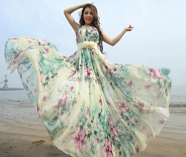 Summer font b Floral b font Long Chiffon Maxi font b Dress b font Gown Plus
