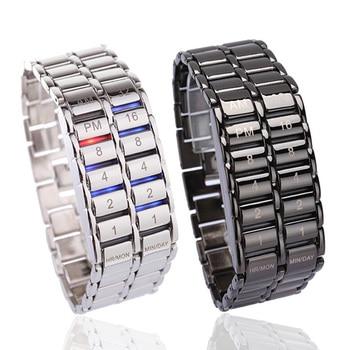 Luxfacigoo Women Men Binary LED Digital Quartz Wrist Watch For Father's Day Fashion Creative Gift TT@88