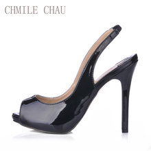 CHMILE CHAU Sexy Dress Party Shoes Women Peep Toe Stiletto High Heels Sling Back Ladies Pumps Zapatos Mujer Plus Sizes 10 S1