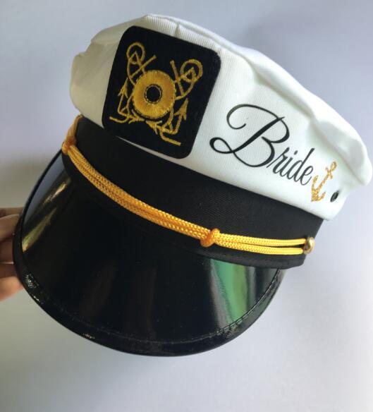 6da760666bd custom nautical wedding Bride Captains hat with veil marina Captains hats  Bachelorette Lets Get Nauti