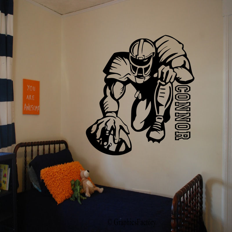 High Quality Rugby Player Wall Stickers Boys Room Removable Bedroom Sports  Wall Decals Vinyl Adhesive Stickers