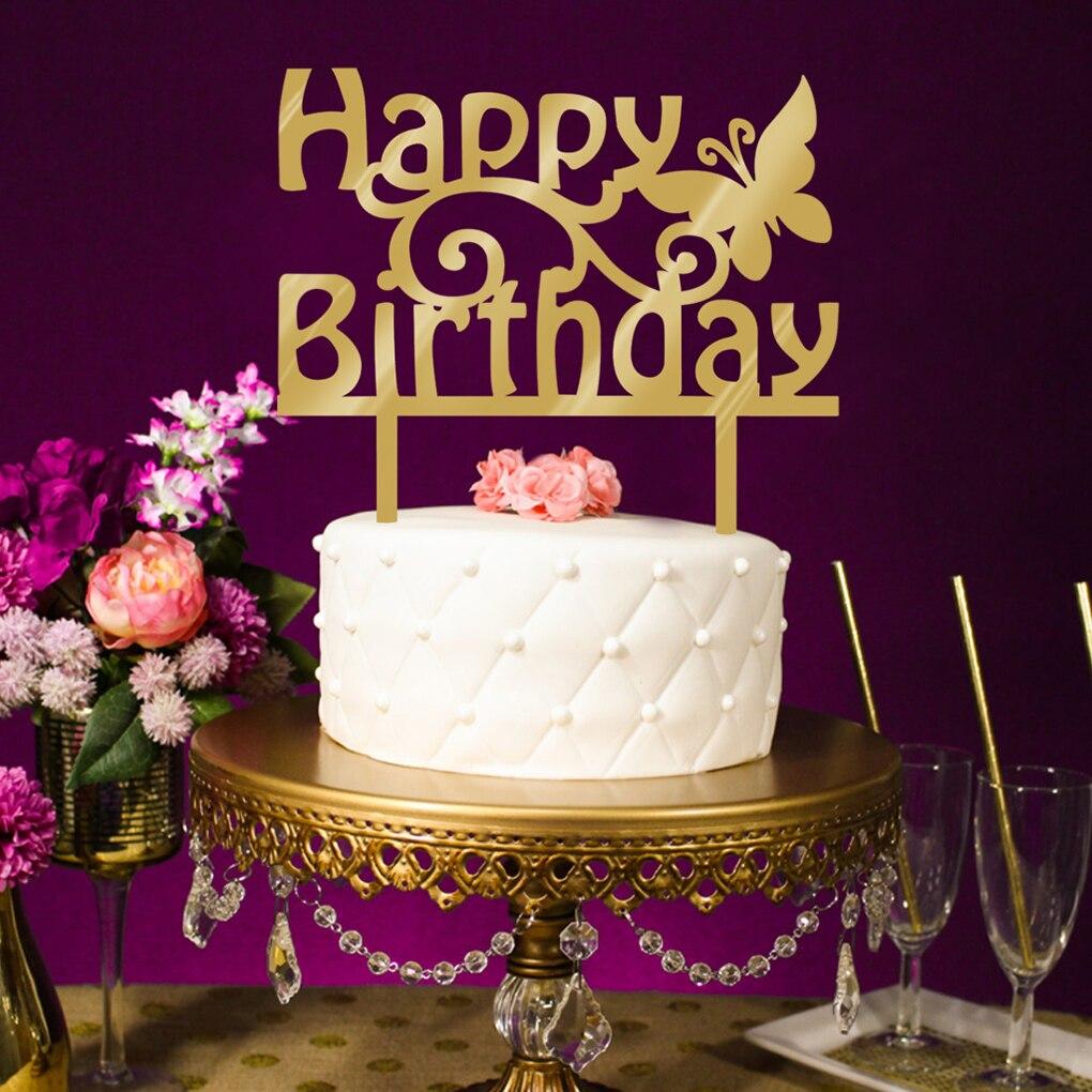 Happy Birthday Cake Topper Acrylic Gold Twinkle DIY