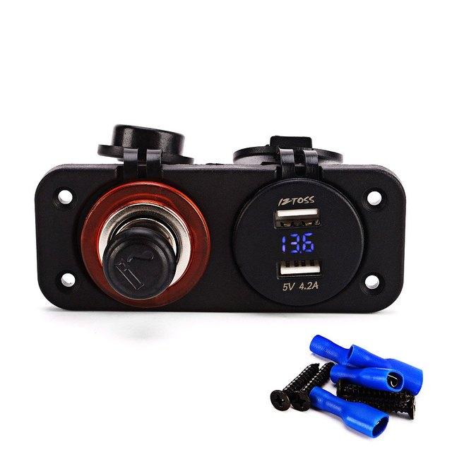 Double Hole Panel Round Dual USB C932 – Z 12 – 24V Vehicle Power Plug Voltmeter Marine Socket Water Resistant Cigarette Lighter