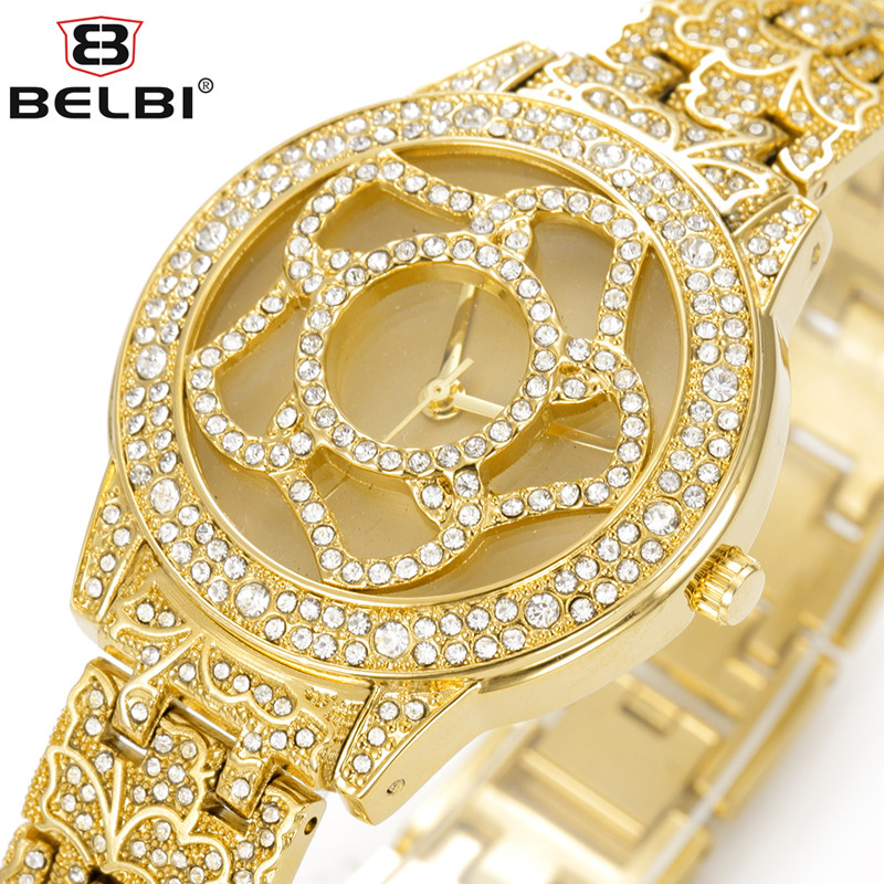 BELBI Luxury Women Rhinestone Quartz Watch Ladies Skeleton Dial Diamond Watches Female Clock Famous Brand Gold Wristwatches 2017 футболка для беременных printio minecraft меч
