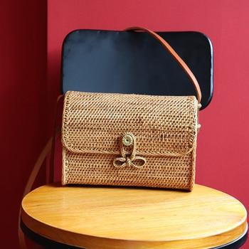 New temperament straw bag bow buckle lady rattan bag literary fan retro messenger bag shoulder bag female Сумка