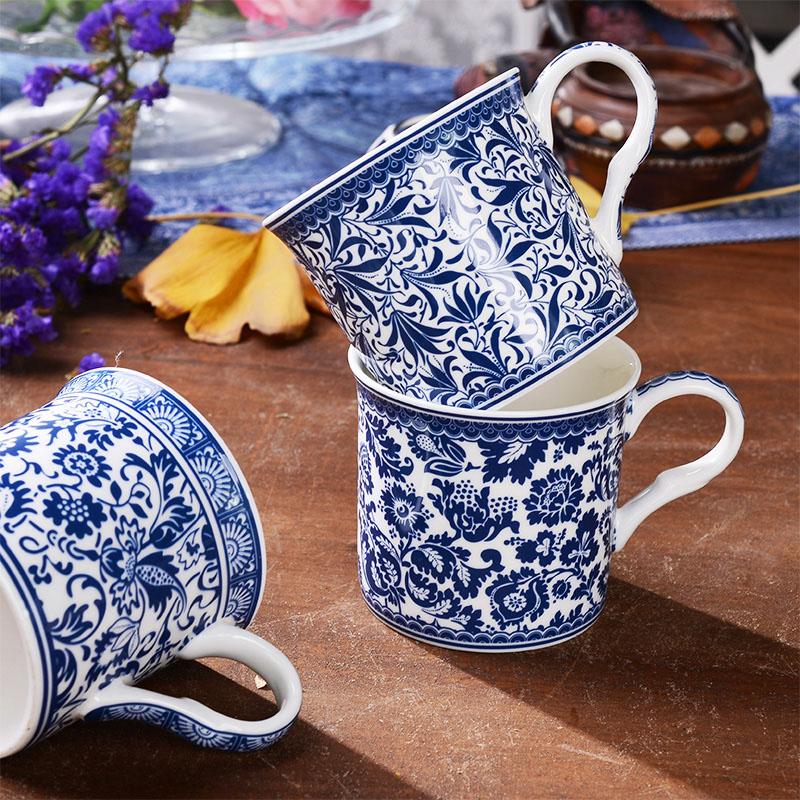 320mL Classical Style Blue And White Porcelain Mugs Bone China Coffee Black Tea Cups Milk Mug