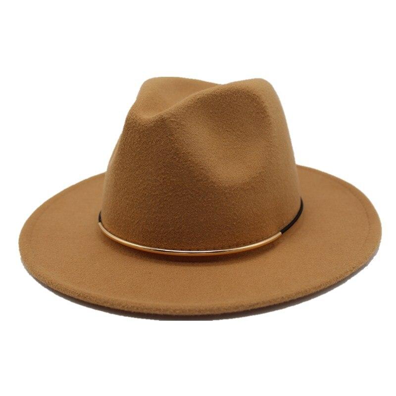 f560eac5e Seioum 2018 New Women Wool Fedoras With Metal Ring Wide Brim Panama Hat  Winter Warm Jazz Caps Elegant Lady Church Hat Sombrero